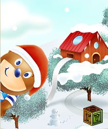 Барни и следы на снегу